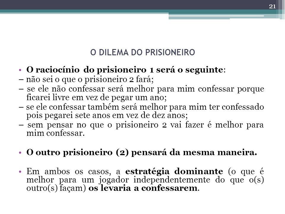 O DILEMA DO PRISIONEIRO O raciocínio do prisioneiro 1 será o seguinte: – não sei o que o prisioneiro 2 fará; – se ele não confessar será melhor para mim confessar porque ficarei livre em vez de pegar um ano; – se ele confessar também será melhor para mim ter confessado pois pegarei sete anos em vez de dez anos; – sem pensar no que o prisioneiro 2 vai fazer é melhor para mim confessar.