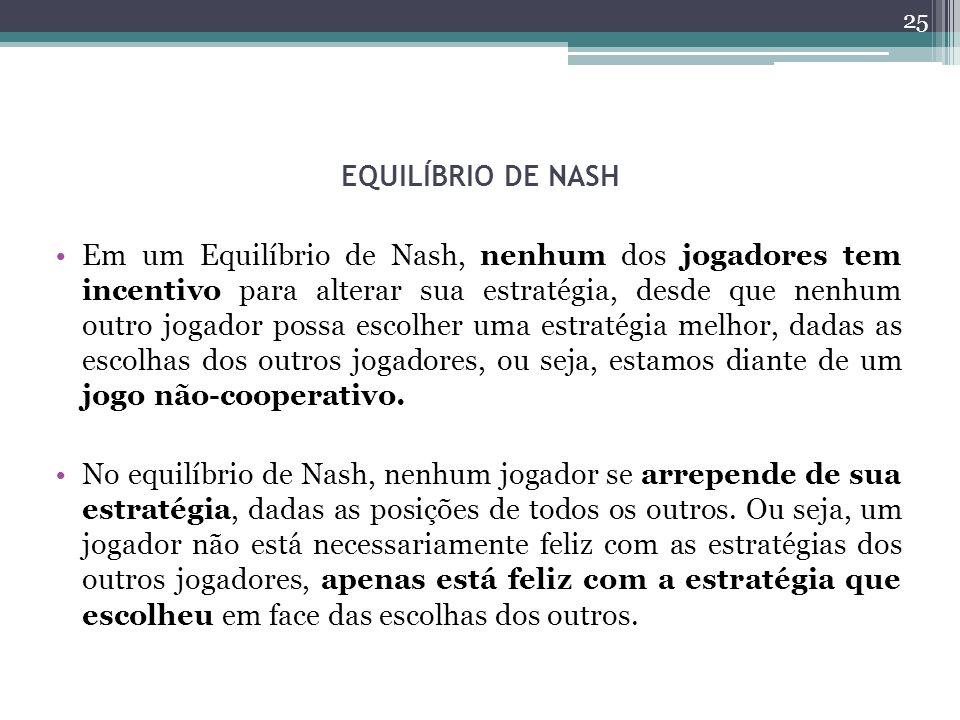 EQUILÍBRIO DE NASH Em um Equilíbrio de Nash, nenhum dos jogadores tem incentivo para alterar sua estratégia, desde que nenhum outro jogador possa escolher uma estratégia melhor, dadas as escolhas dos outros jogadores, ou seja, estamos diante de um jogo não-cooperativo.