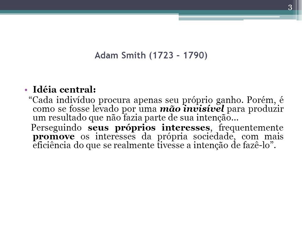 Adam Smith (1723 – 1790) Idéia central: Cada indivíduo procura apenas seu próprio ganho. Porém, é como se fosse levado por uma mão invisível para prod
