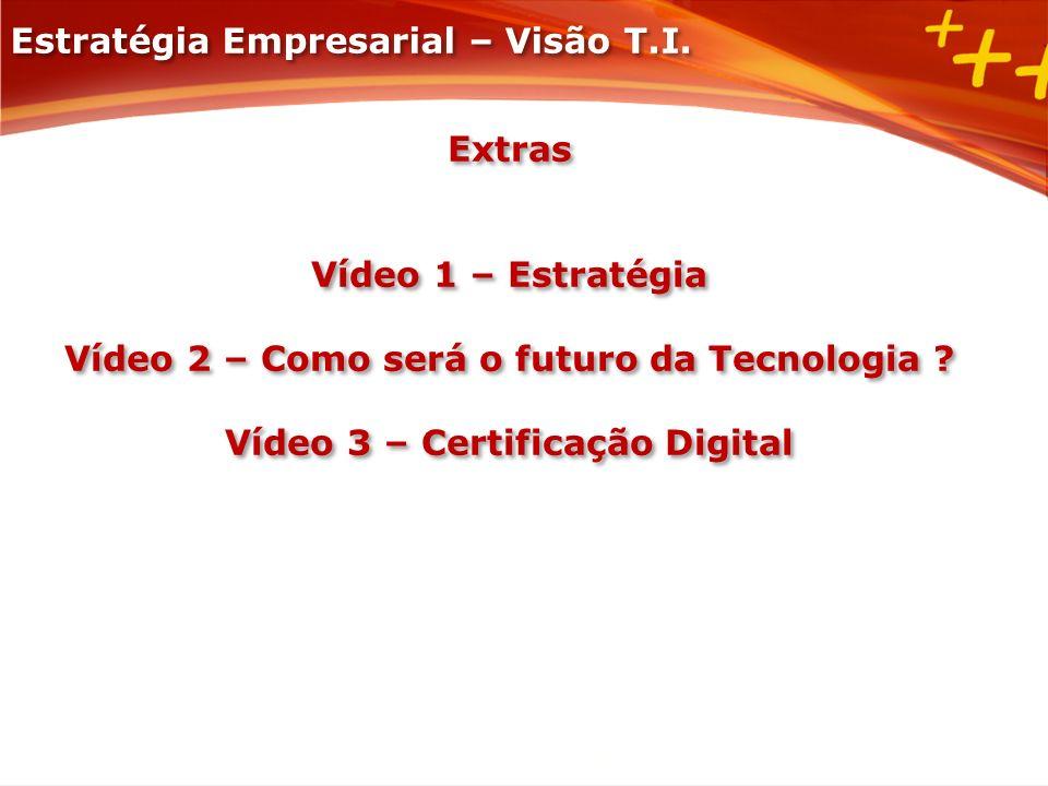 Extras Vídeo 1 – Estratégia Vídeo 2 – Como será o futuro da Tecnologia ? Vídeo 3 – Certificação Digital Extras Vídeo 1 – Estratégia Vídeo 2 – Como ser