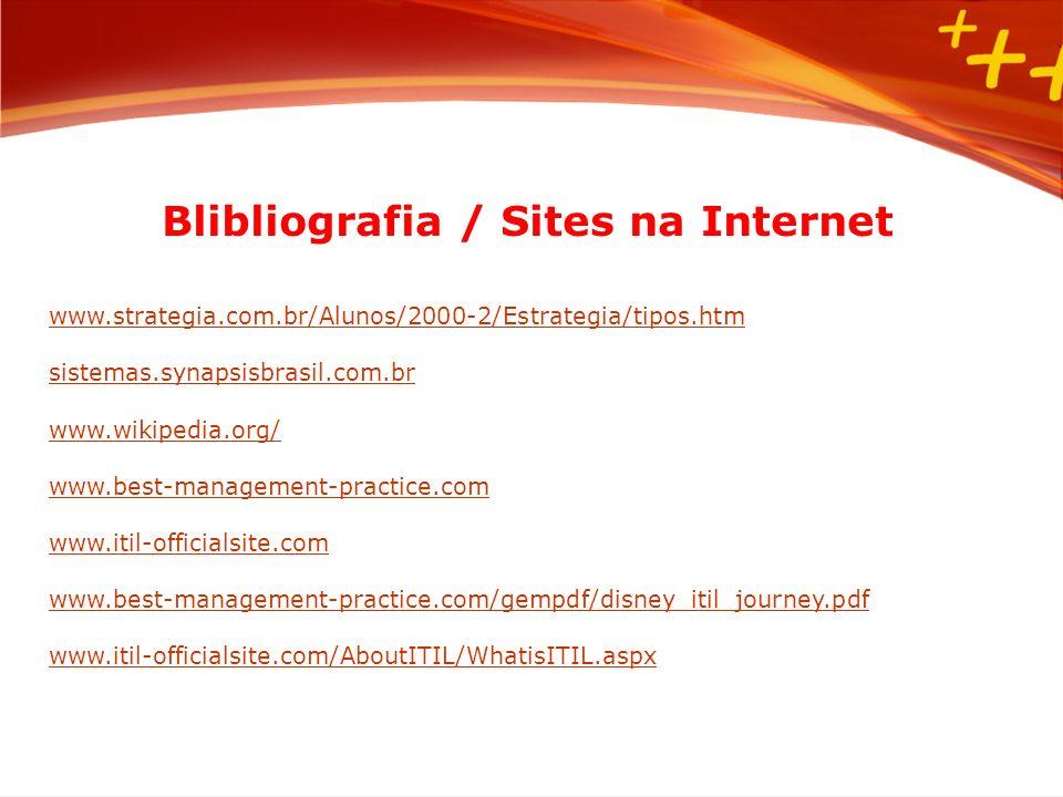 Blibliografia / Sites na Internet www.strategia.com.br/Alunos/2000-2/Estrategia/tipos.htm sistemas.synapsisbrasil.com.br www.wikipedia.org/ www.best-m