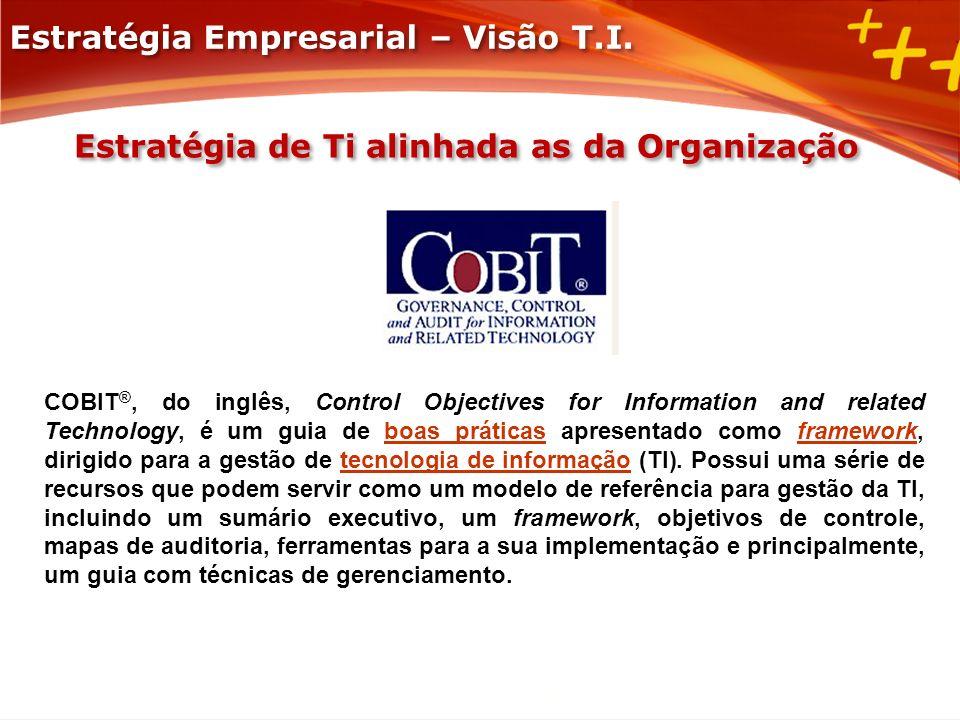 Estratégia de Ti alinhada as da Organização COBIT ®, do inglês, Control Objectives for Information and related Technology, é um guia de boas práticas