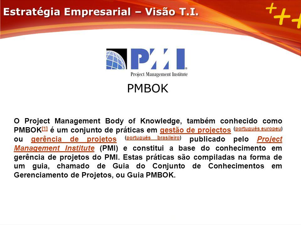 PMBOK O Project Management Body of Knowledge, também conhecido como PMBOK [1] é um conjunto de práticas em gestão de projectos (português europeu) ou