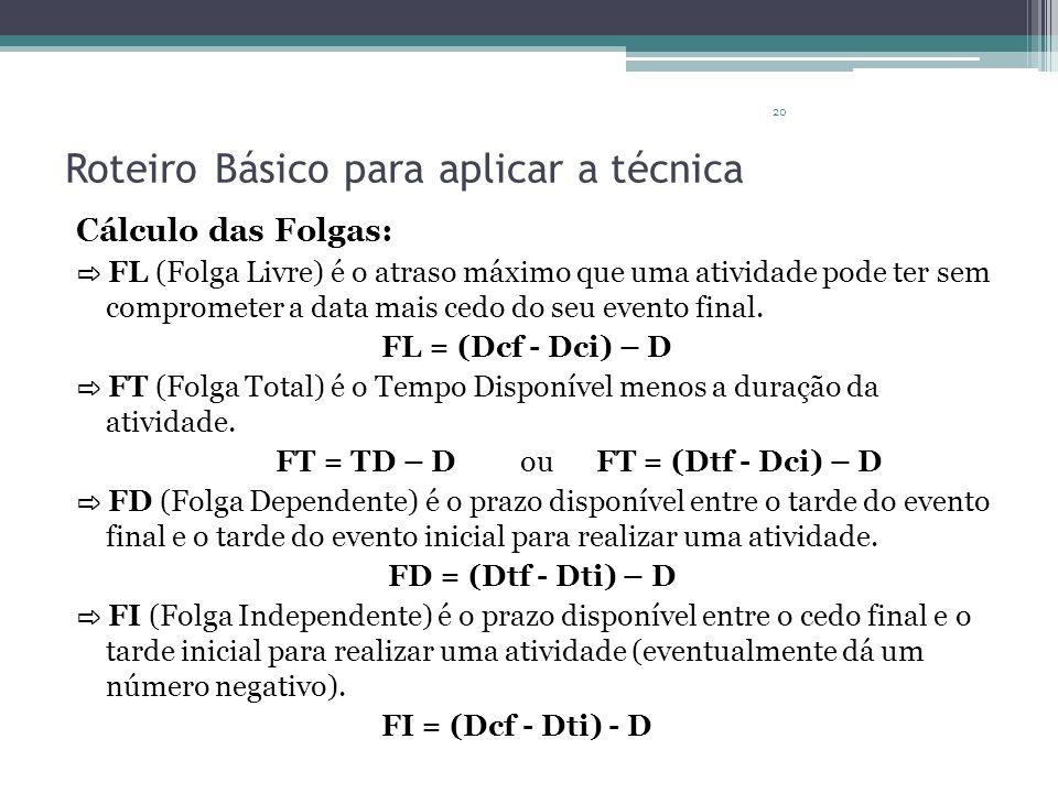 20 Roteiro Básico para aplicar a técnica Cálculo das Folgas: FL (Folga Livre) é o atraso máximo que uma atividade pode ter sem comprometer a data mais cedo do seu evento final.