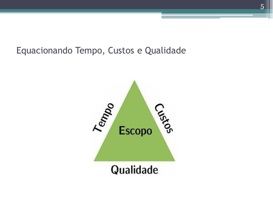 Equacionando Tempo, Custos e Qualidade 5
