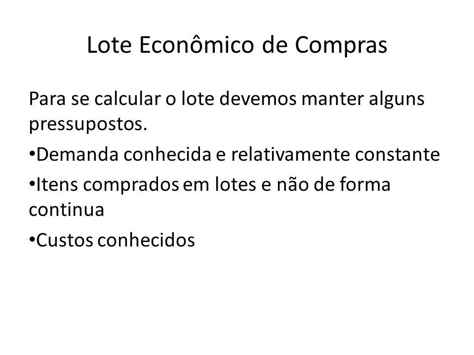 Lote Econômico de Compras Para se calcular o lote devemos manter alguns pressupostos. Demanda conhecida e relativamente constante Itens comprados em l