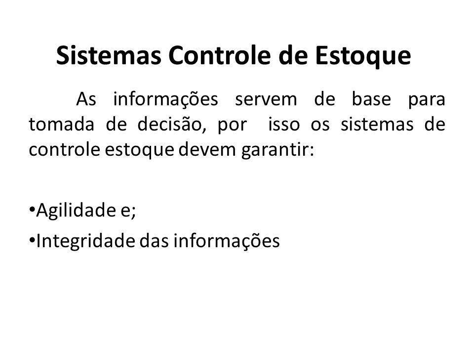 Sistemas Controle de Estoque As informações servem de base para tomada de decisão, por isso os sistemas de controle estoque devem garantir: Agilidade