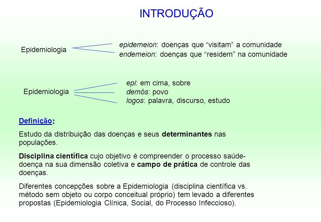 : Definição: Estudo da distribuição das doenças e seus determinantes nas populações. Disciplina científica cujo objetivo é compreender o processo saúd