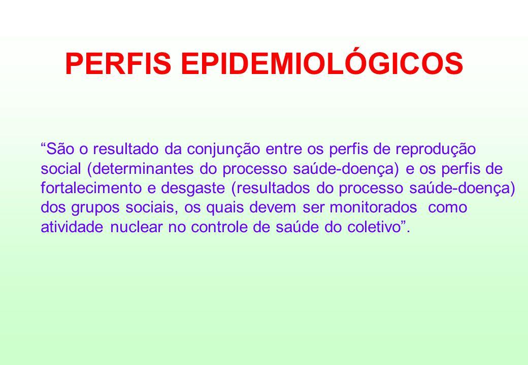 PERFIS EPIDEMIOLÓGICOS São o resultado da conjunção entre os perfis de reprodução social (determinantes do processo saúde-doença) e os perfis de forta
