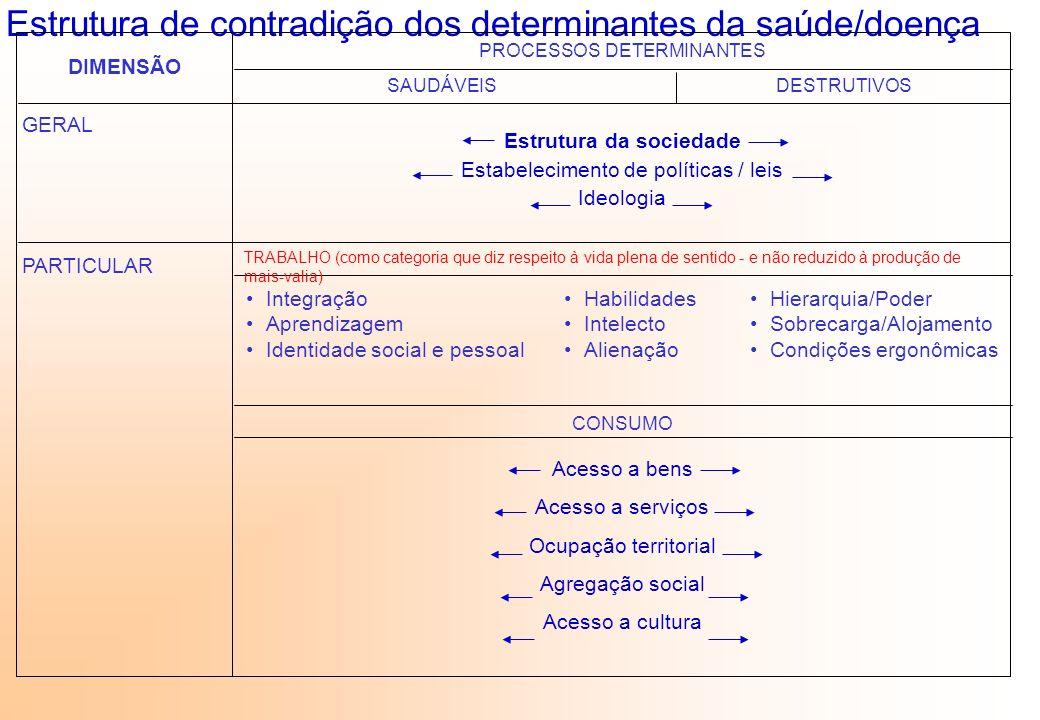 Estrutura de contradição dos determinantes da saúde/doença DIMENSÃO PROCESSOS DETERMINANTES SAUDÁVEISDESTRUTIVOS GERAL Integração Aprendizagem Identid