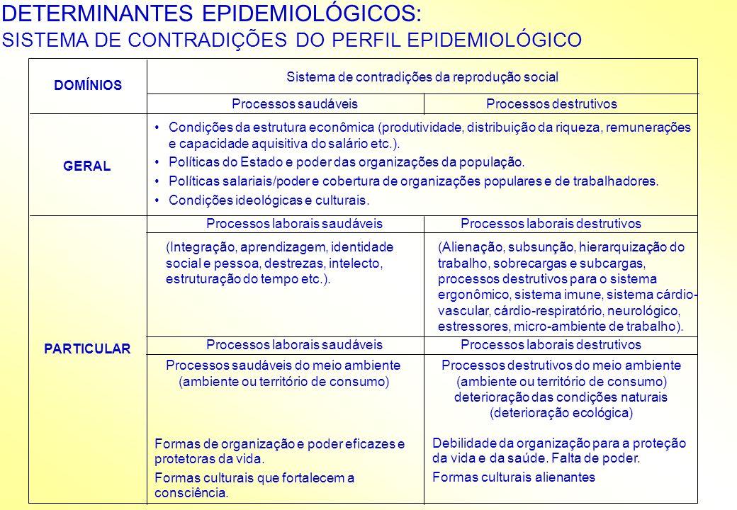 DETERMINANTES EPIDEMIOLÓGICOS: SISTEMA DE CONTRADIÇÕES DO PERFIL EPIDEMIOLÓGICO DOMÍNIOS Sistema de contradições da reprodução social Processos saudáv