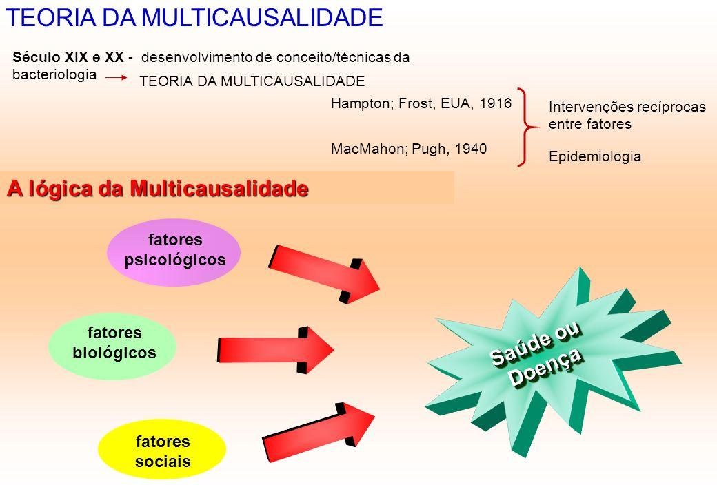 TEORIA DA MULTICAUSALIDADE Século XIX e XX - desenvolvimento de conceito/técnicas da bacteriologia TEORIA DA MULTICAUSALIDADE Hampton; Frost, EUA, 191