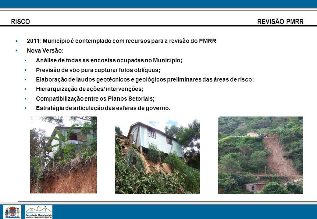 RISCO REVISÃO PMRR 2011: Município é contemplado com recursos para a revisão do PMRR Nova Versão: Análise de todas as encostas ocupadas no Município;