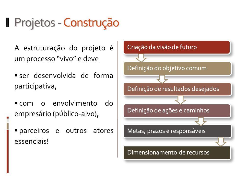 Projetos - Construção A estruturação do projeto é um processo vivo e deve ser desenvolvida de forma participativa, com o envolvimento do empresário (p