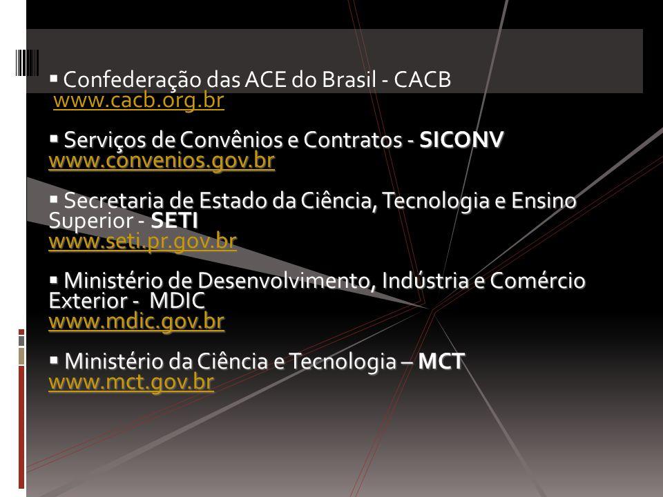 Confederação das ACE do Brasil - CACB www.cacb.org.brwww.cacb.org.br Serviços de Convênios e Contratos - SICONV Serviços de Convênios e Contratos - SI