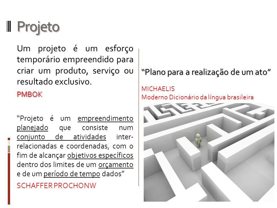 Projeto Um projeto é um esforço temporário empreendido para criar um produto, serviço ou resultado exclusivo.PMBOK Projeto é um empreendimento planeja