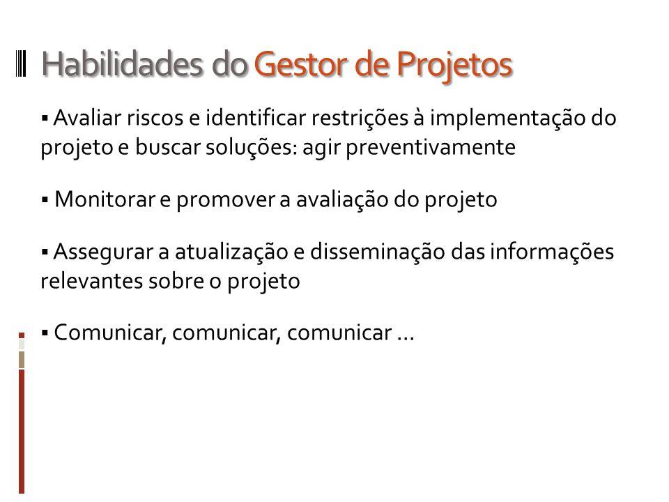 Habilidades do Gestor de Projetos Avaliar riscos e identificar restrições à implementação do projeto e buscar soluções: agir preventivamente Monitorar