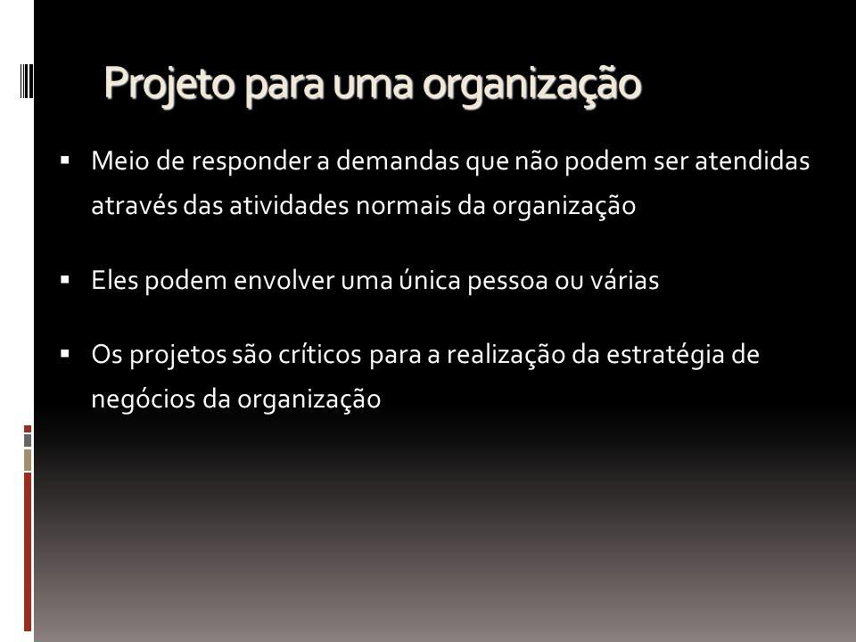Projeto para uma organização Meio de responder a demandas que não podem ser atendidas através das atividades normais da organização Eles podem envolve