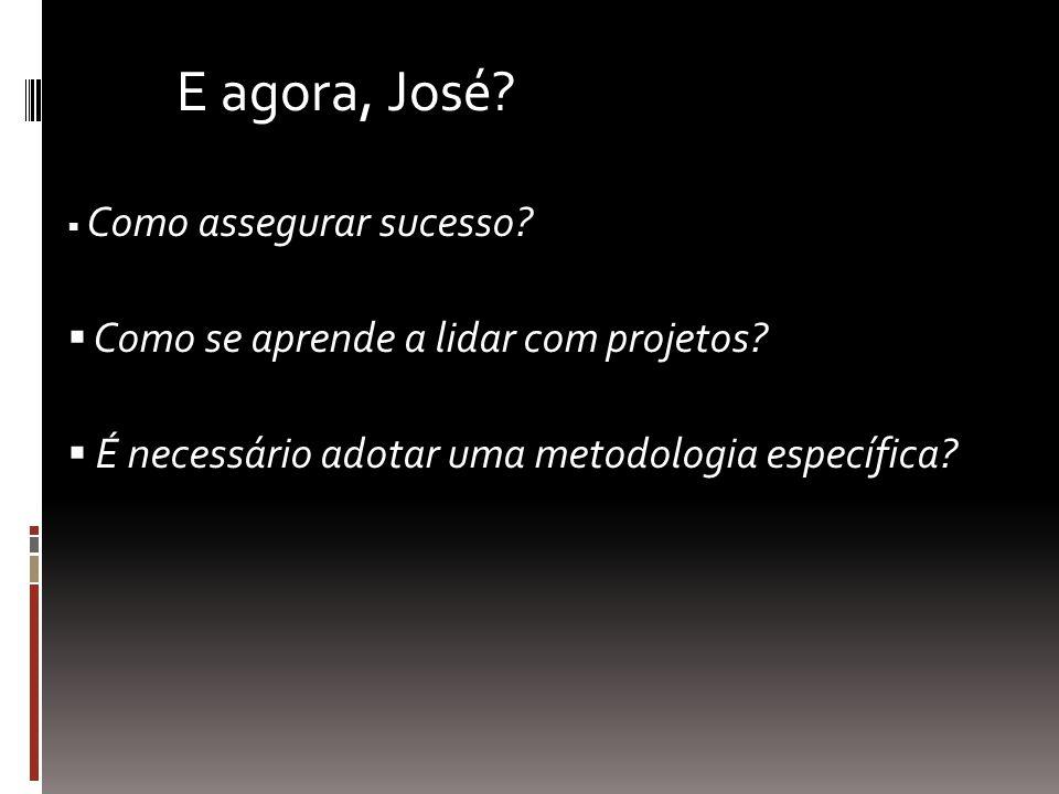 Como assegurar sucesso? Como se aprende a lidar com projetos? É necessário adotar uma metodologia específica? E agora, José?