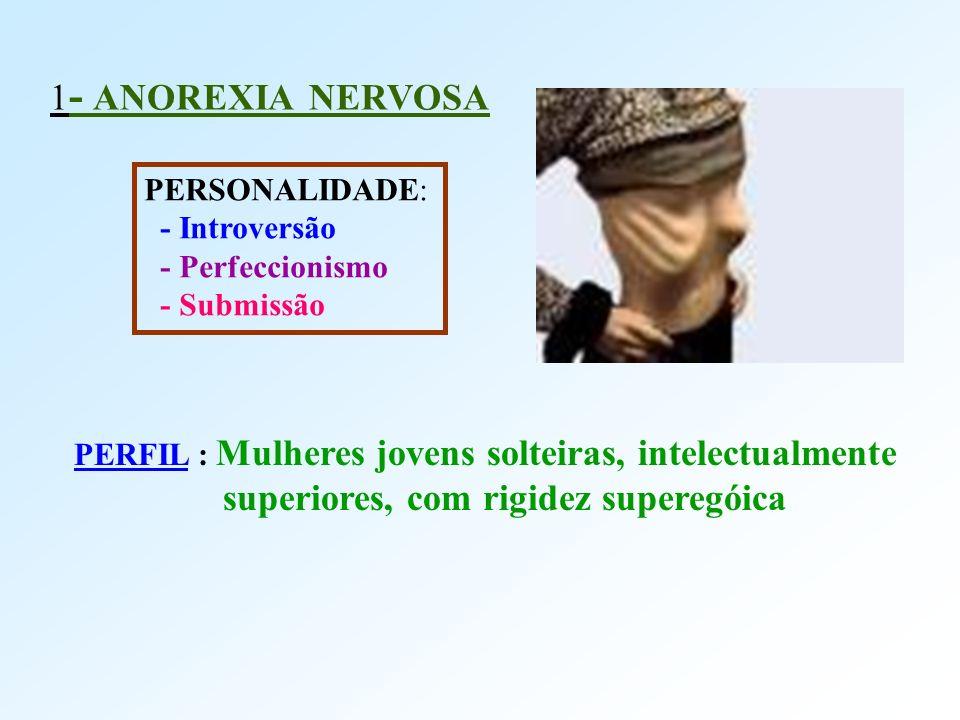 1 - ANOREXIA NERVOSA PERSONALIDADE: - Introversão - Perfeccionismo - Submissão PERFIL : Mulheres jovens solteiras, intelectualmente superiores, com ri