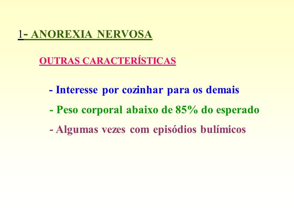1 - ANOREXIA NERVOSA COMPLICAÇÕES - Carências vitamínicas -Perda de elementos essenciais ( Potássio, sódio, cálcio, magnésio...) - Carências hormonais ( com amenorréia em mulheres) - Consumo de massa muscular