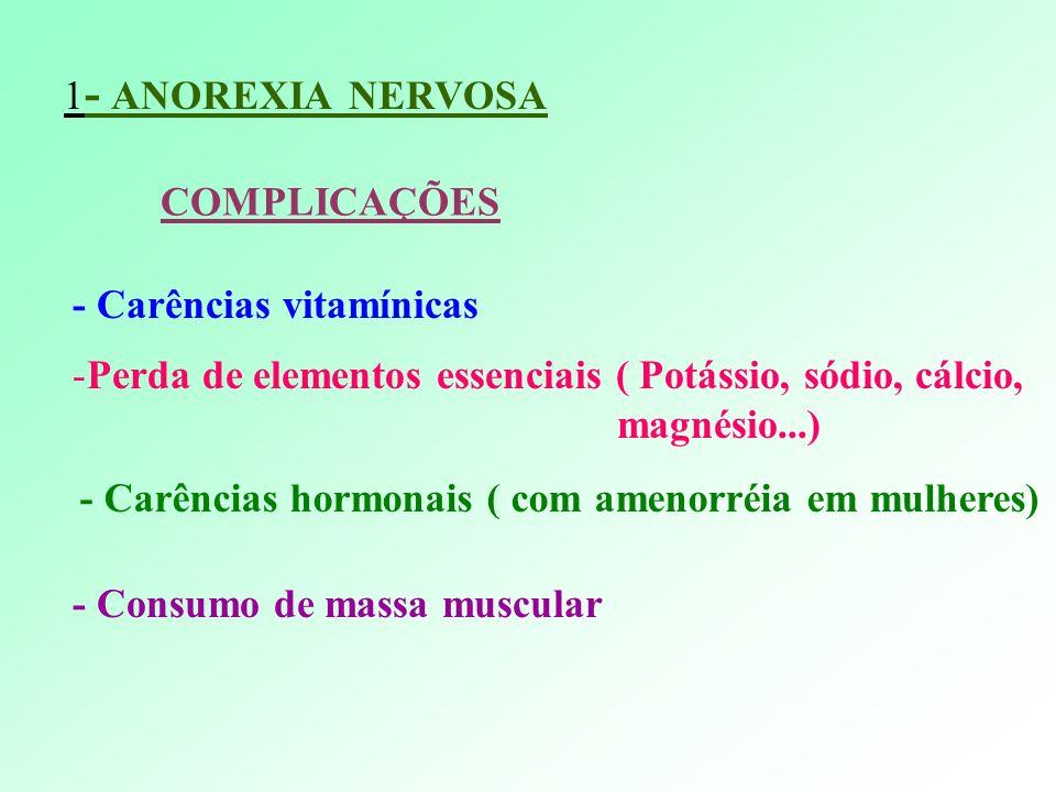 1 - ANOREXIA NERVOSA COMPLICAÇÕES - Carências vitamínicas -Perda de elementos essenciais ( Potássio, sódio, cálcio, magnésio...) - Carências hormonais