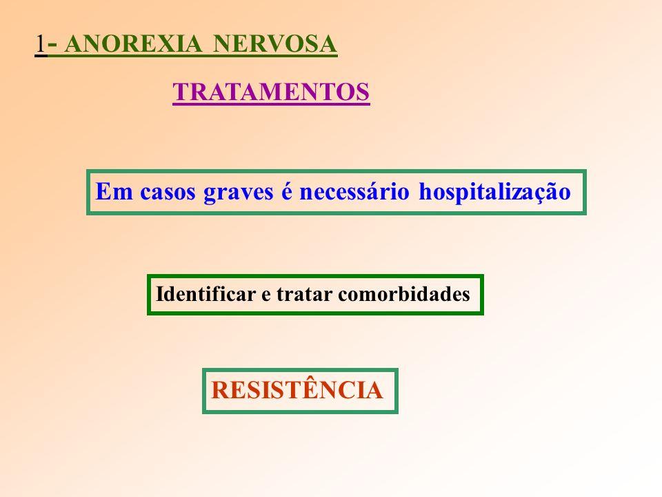 1 - ANOREXIA NERVOSA TRATAMENTOS Em casos graves é necessário hospitalização Identificar e tratar comorbidades RESISTÊNCIA