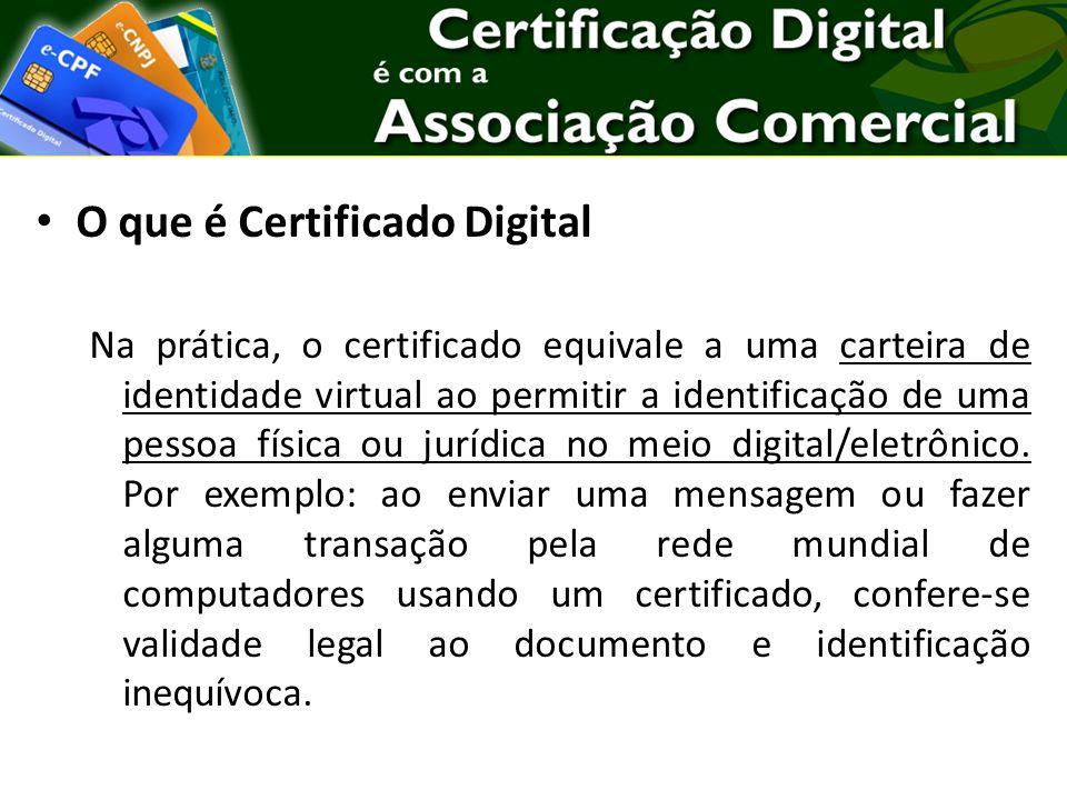 O que é Certificado Digital Na prática, o certificado equivale a uma carteira de identidade virtual ao permitir a identificação de uma pessoa física ou jurídica no meio digital/eletrônico.
