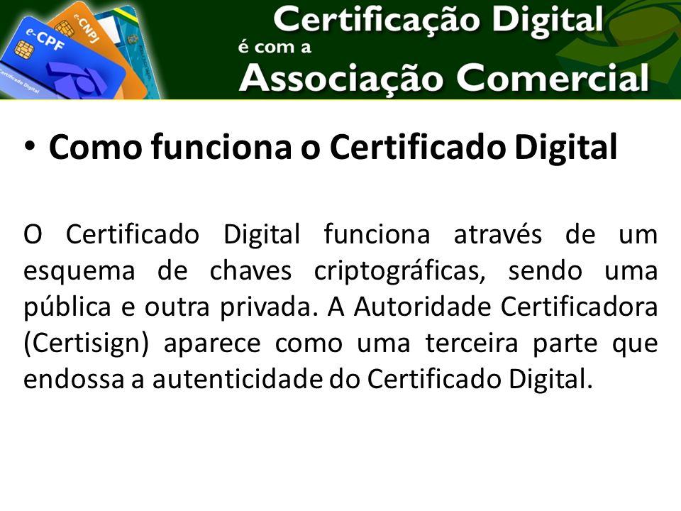 Como funciona o Certificado Digital O Certificado Digital funciona através de um esquema de chaves criptográficas, sendo uma pública e outra privada.