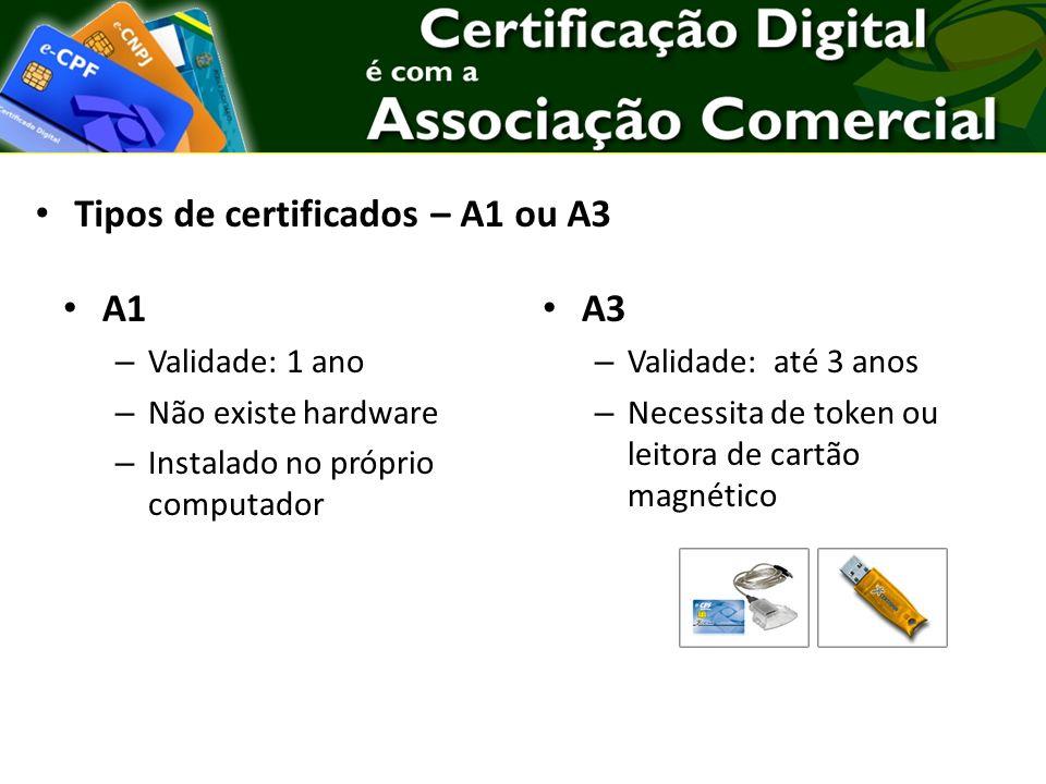 A1 – Validade: 1 ano – Não existe hardware – Instalado no próprio computador A3 – Validade: até 3 anos – Necessita de token ou leitora de cartão magnético Tipos de certificados – A1 ou A3