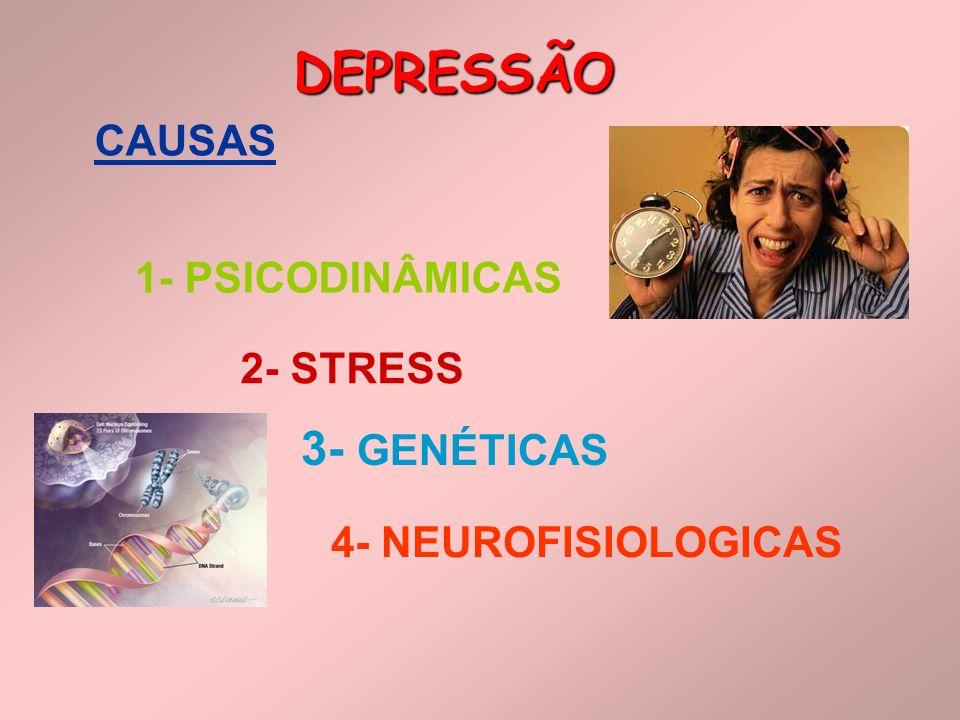 DEPRESSÃO CAUSAS 1- PSICODINÂMICAS 2- STRESS 3- GENÉTICAS 4- NEUROFISIOLOGICAS