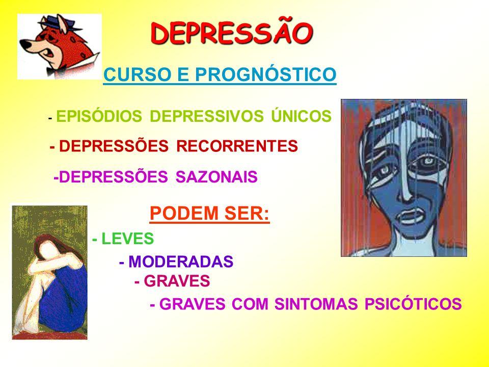 DEPRESSÃO CURSO E PROGNÓSTICO - EPISÓDIOS DEPRESSIVOS ÚNICOS - DEPRESSÕES RECORRENTES -DEPRESSÕES SAZONAIS PODEM SER: - LEVES - MODERADAS - GRAVES - G