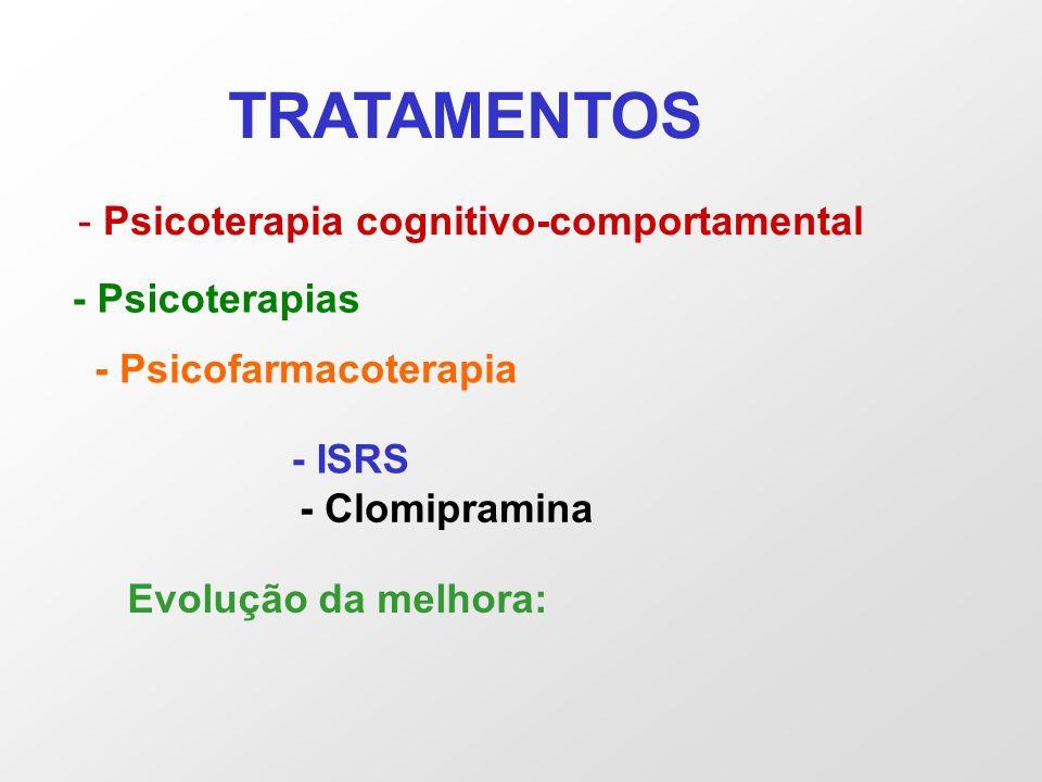 TRATAMENTOS - Psicoterapia cognitivo-comportamental - Psicoterapias - Psicofarmacoterapia - ISRS - Clomipramina Evolução da melhora: