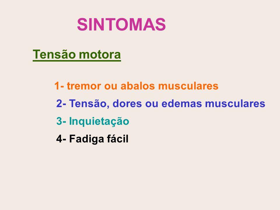 SINTOMAS Tensão motora 1- tremor ou abalos musculares 2- Tensão, dores ou edemas musculares 3- Inquietação 4- Fadiga fácil