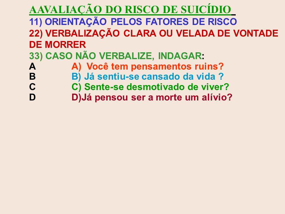 AAVALIAÇÃO DO RISCO DE SUICÍDIO 11) ORIENTAÇÃO PELOS FATORES DE RISCO 22) VERBALIZAÇÃO CLARA OU VELADA DE VONTADE DE MORRER 33) CASO NÃO VERBALIZE, IN