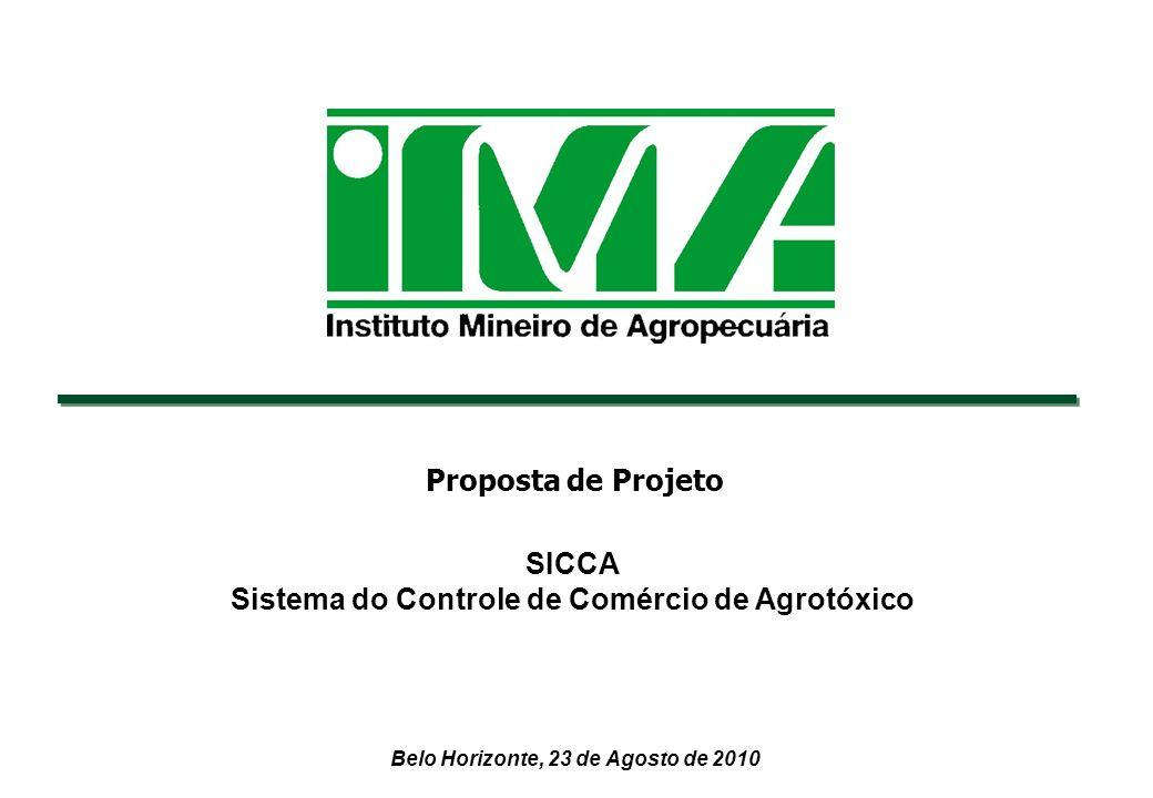 Belo Horizonte, 23 de Agosto de 2010 SICCA Sistema do Controle de Comércio de Agrotóxico Proposta de Projeto