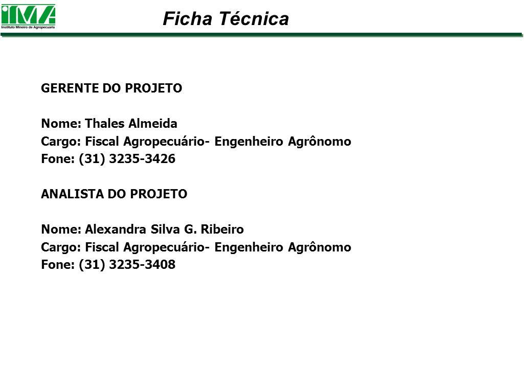 GERENTE DO PROJETO Nome: Thales Almeida Cargo: Fiscal Agropecuário- Engenheiro Agrônomo Fone: (31) 3235-3426 ANALISTA DO PROJETO Nome: Alexandra Silva