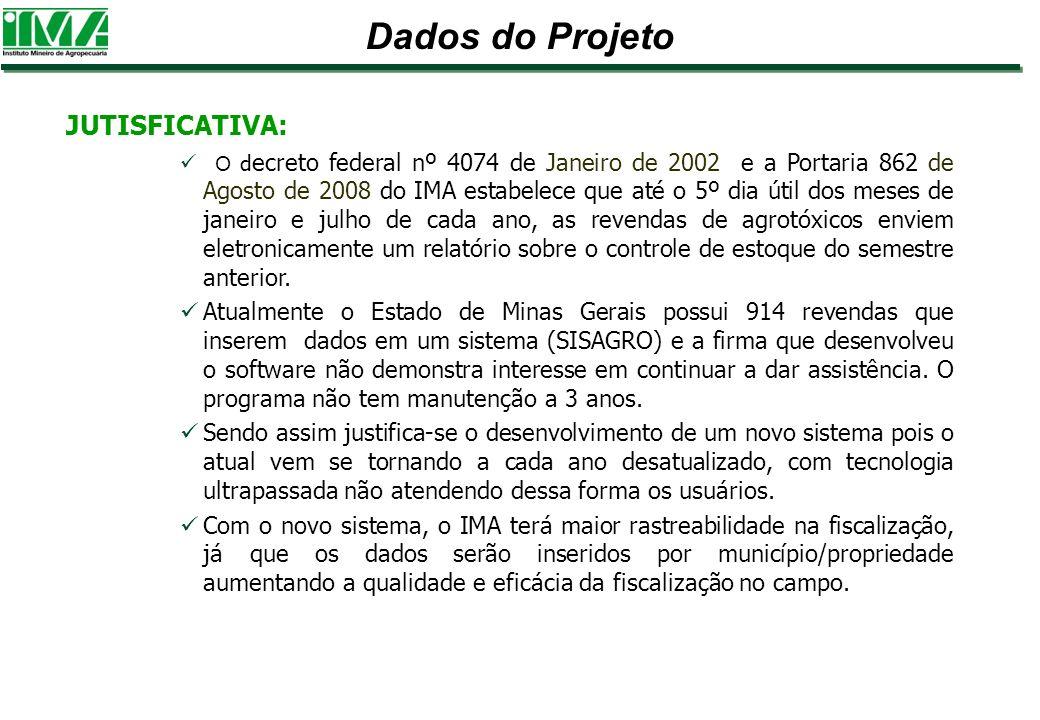 Dados do Projeto JUTISFICATIVA: O d ecreto federal nº 4074 de Janeiro de 2002 e a Portaria 862 de Agosto de 2008 do IMA estabelece que até o 5º dia út