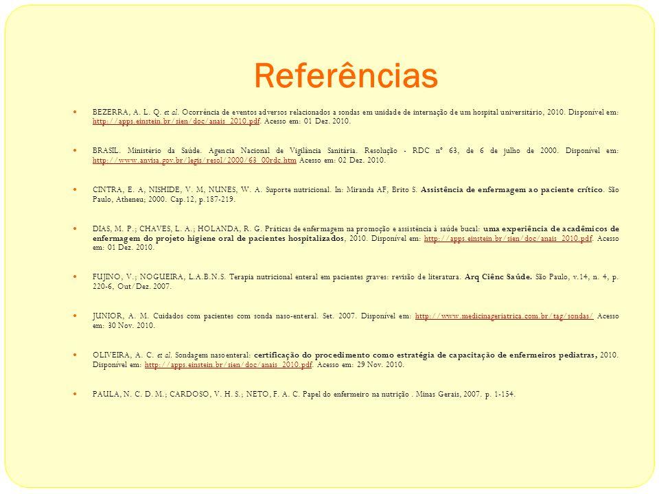 Referências BEZERRA, A. L. Q. et al. Ocorrência de eventos adversos relacionados a sondas em unidade de internação de um hospital universitário, 2010.