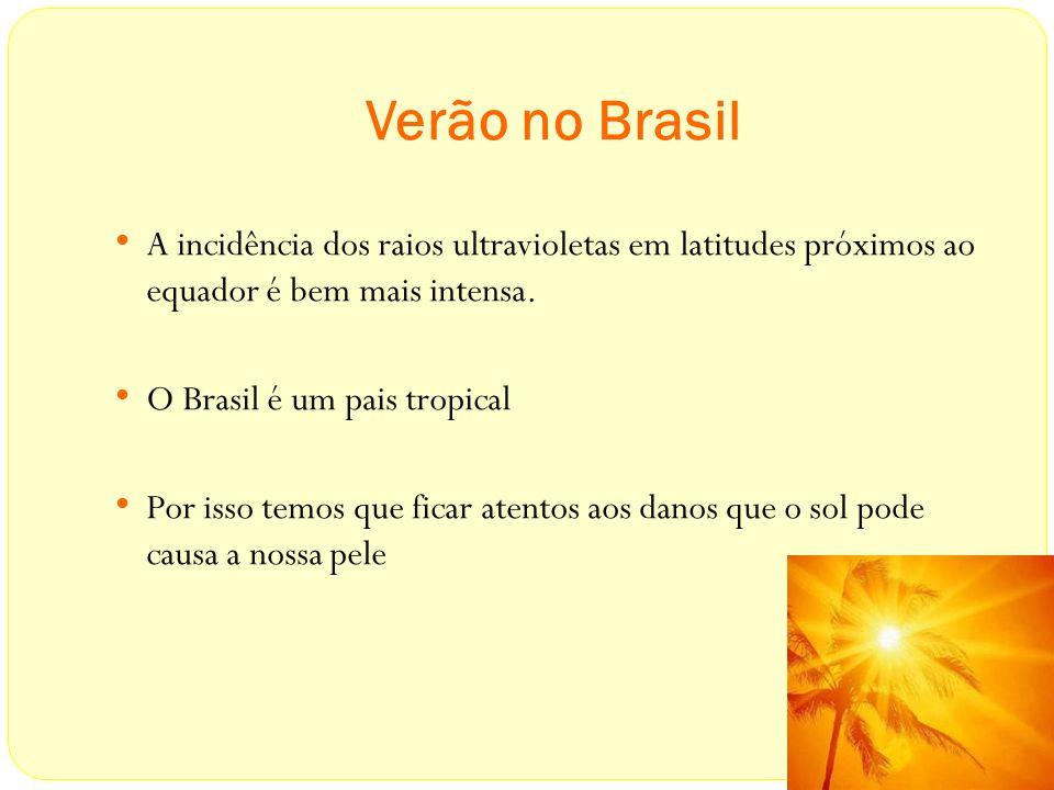Verão no Brasil A incidência dos raios ultravioletas em latitudes próximos ao equador é bem mais intensa. O Brasil é um pais tropical Por isso temos q