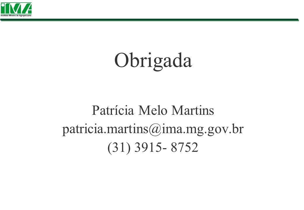 Obrigada Patrícia Melo Martins patricia.martins@ima.mg.gov.br (31) 3915- 8752