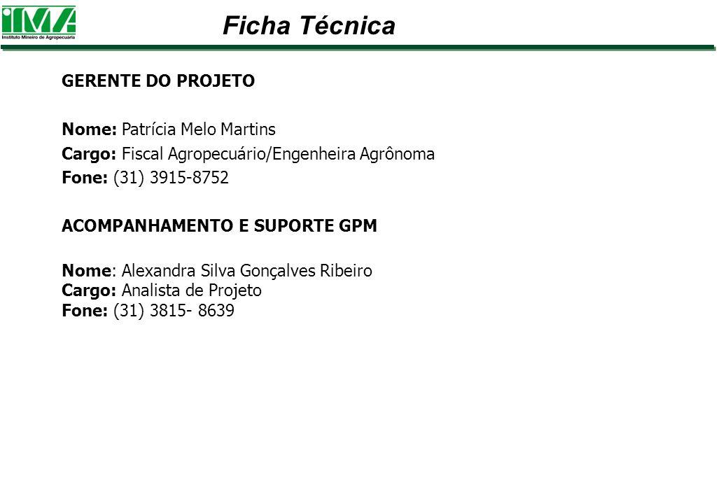 GERENTE DO PROJETO Nome: Patrícia Melo Martins Cargo: Fiscal Agropecuário/Engenheira Agrônoma Fone: (31) 3915-8752 ACOMPANHAMENTO E SUPORTE GPM Nome: