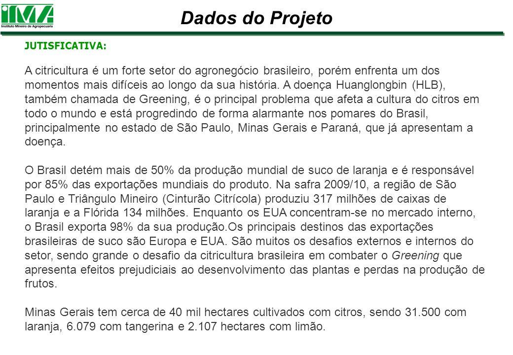 Dados do Projeto JUTISFICATIVA: A citricultura é um forte setor do agronegócio brasileiro, porém enfrenta um dos momentos mais difíceis ao longo da su