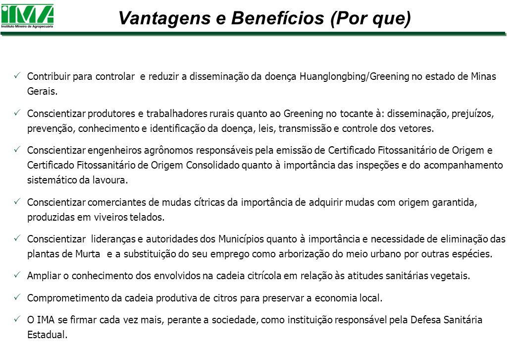 Contribuir para controlar e reduzir a disseminação da doença Huanglongbing/Greening no estado de Minas Gerais. Conscientizar produtores e trabalhadore