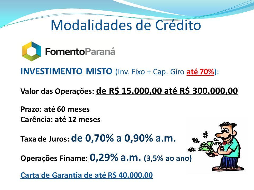 Modalidades de Crédito INVESTIMENTO MISTO (Inv. Fixo + Cap. Giro até 70%): Valor das Operações: de R$ 15.000,00 até R$ 300.000,00 Prazo: até 60 meses