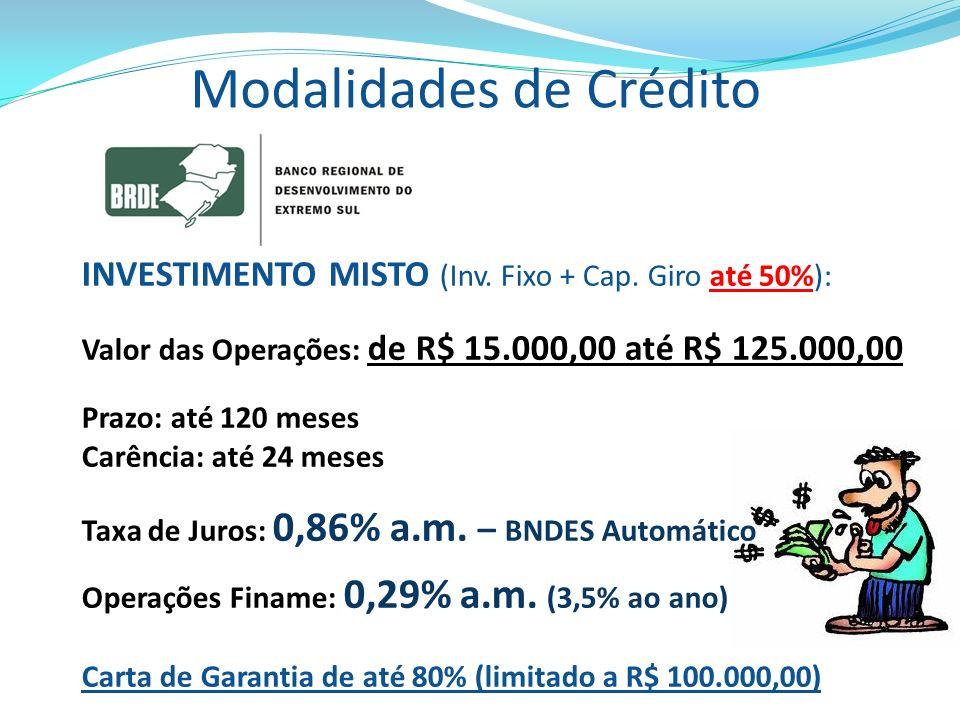 Modalidades de Crédito INVESTIMENTO MISTO (Inv. Fixo + Cap. Giro até 50%): Valor das Operações: de R$ 15.000,00 até R$ 125.000,00 Prazo: até 120 meses