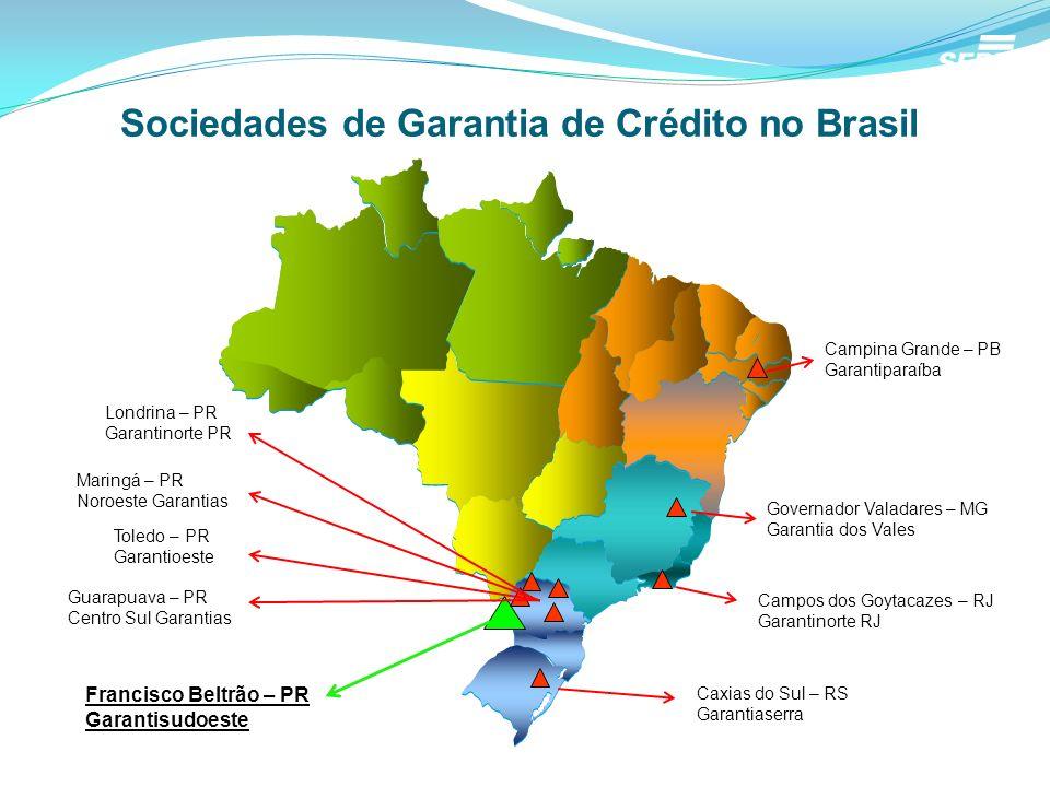 Sociedades de Garantia de Crédito no Brasil Campina Grande – PB Garantiparaíba Governador Valadares – MG Garantia dos Vales Campos dos Goytacazes – RJ