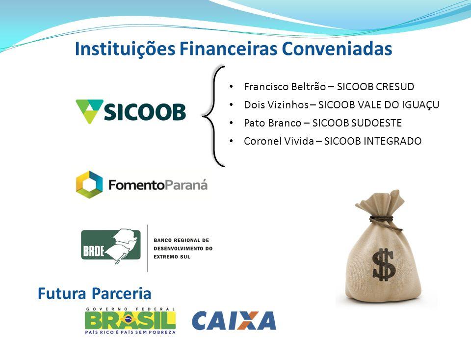 Instituições Financeiras Conveniadas Futura Parceria Francisco Beltrão – SICOOB CRESUD Dois Vizinhos – SICOOB VALE DO IGUAÇU Pato Branco – SICOOB SUDO