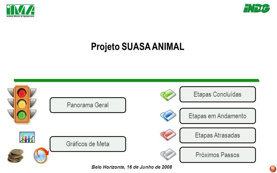 Belo Horizonte, 16 de Junho de 2008 Projeto SUASA ANIMAL Etapas AtrasadasEtapas em AndamentoPróximos Passos Etapas Concluídas Panorama Geral Gráficos de Meta