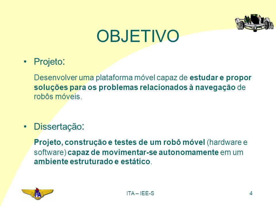 ITA – IEE-S4 Projeto : Desenvolver uma plataforma móvel capaz de estudar e propor soluções para os problemas relacionados à navegação de robôs móveis.